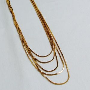 VTG Gold Chain Multi Layer Chic Glam 80s Necklace